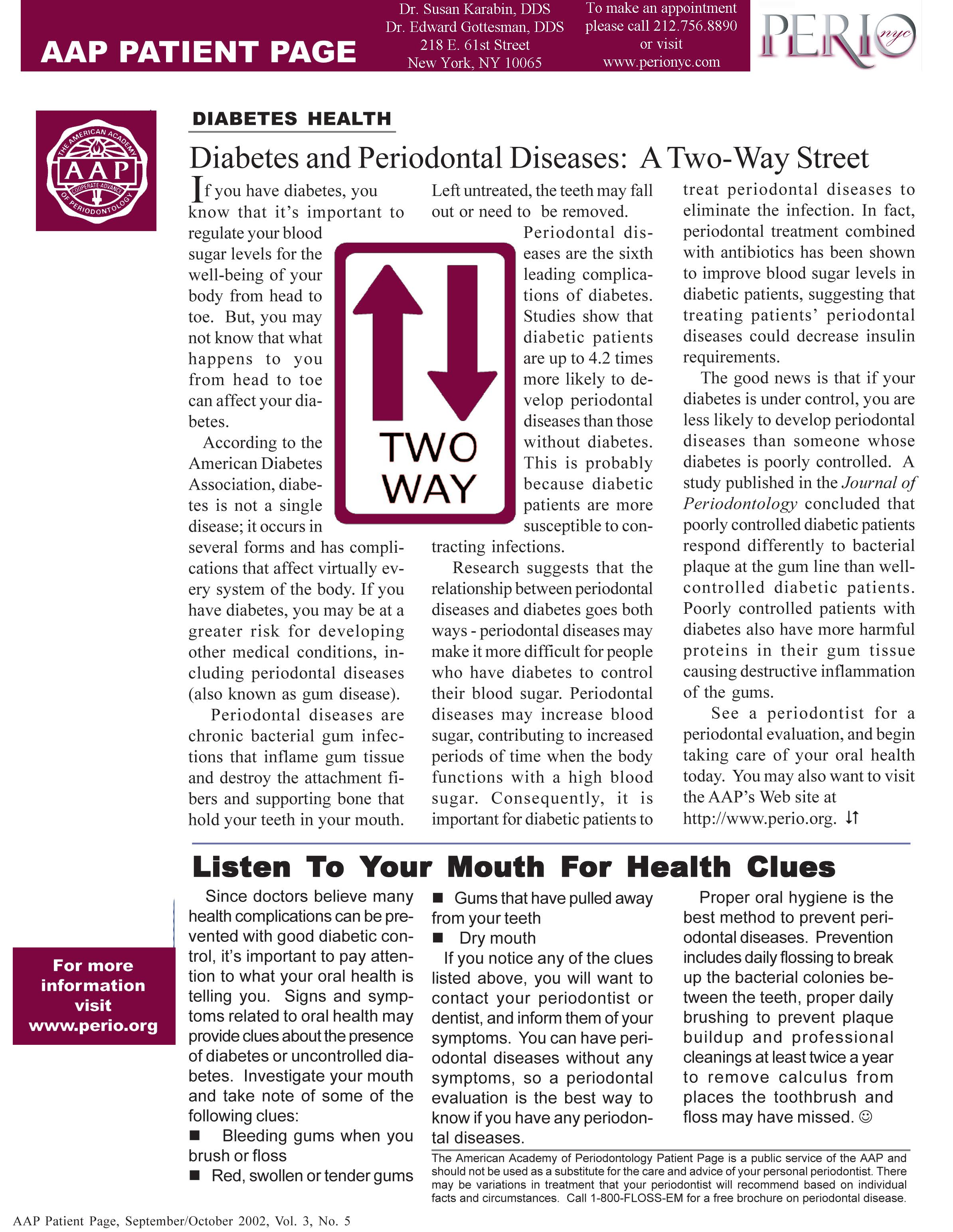 Diabetes and Periodontal Disease: A Two-Way Street