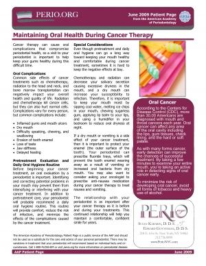 Maintaining Oral Health Cancer Treatment