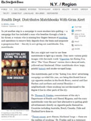 New York Times: Matchbooks With Grim Alert